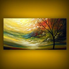 "I need to start saving my pennies for this or maybe hold a cardboard sign on a corner.  ""Will work for art.""  Hmmm... Original large modern abstract tree landscape painting by mattsart, $350.00"