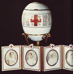 "Faberge Egg 1915 - ""Red Cross Portraits Egg""."