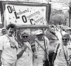 """Old Lesbians Organizing for Change""  A group of women carry an OLOC (Old Lesbians Organizing for Change) banner during the March on Washington for Gay, Lesbian, and Bi Equal Rights and Liberation, Washington DC, April 25, 1993.  Source: Getty Images"