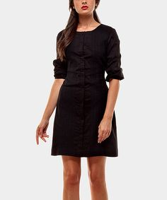 Take a look at this Black Camelia Three-Quarter Sleeve Dress by Almatrichi on #zulily today!