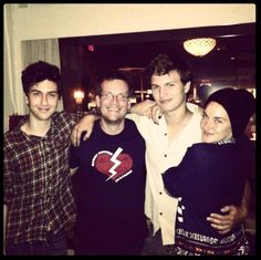 Nat, John, Ansel and Shailene on set of The Fault in Our Stars