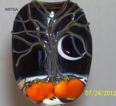WSTGA~HAUNTED HALLOWEEN~TREE MOON PUMPKIN handmade lampwork glass bead focal SRA