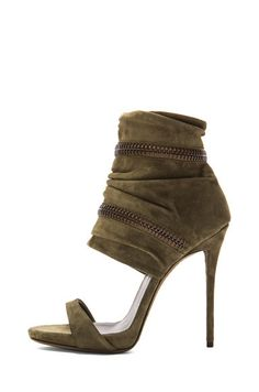 4c0cbd28cf8 Zipper detail khaki green suede Heels by Giuseppe Zanotti. Peep Toe Shoes