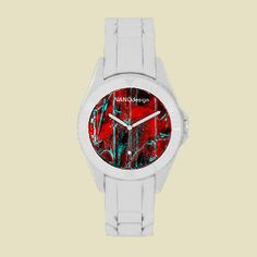 Run, jump, and DANCE with this #sporty and #fun #watch! Made with a durable and comfortable silicone watch band, this water resistant watch is a great #fashion #accessory for any activity. http://www.zazzle.com/designer_watch-256394998197342055