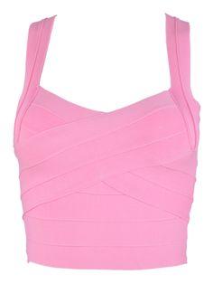 Elastic Bodycon Crop Top with Shoulder Straps in Pink