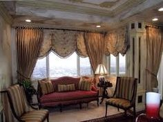 valances on bottom and then curtains w tie backs