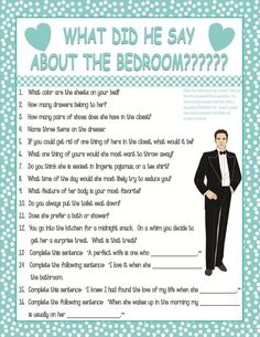 """Bridal Shower Game """"What did he say about the bedroom"""" A Rated G game about how well the future groom know his future bride"""