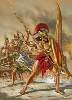 Spartan general and warrior, Lysander, and marines of the Peloponnesian War land at the port of Piraeus. by Johnny Shumate. Greek History, Ancient History, Military Art, Military History, Ancient Sparta, Greco Persian Wars, Greek Soldier, Classical Greece, Greek Warrior