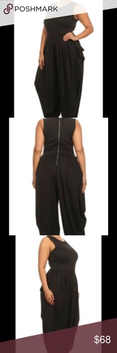 Plus Size Jumpsuit Side pocket, sleeveless jumpsuit with a zipper in the back. Pants Jumpsuits & Rompers