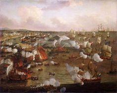 L'incendio di navi francesi nella battaglia di La Hogue, 23 maggio 1692, Willem van de Velde il Giovane