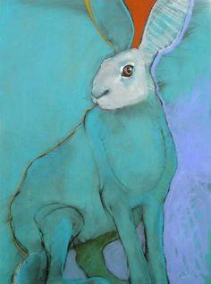 ♞ Artful Animals ♞ bird, dog, cat, fish, bunny and animal paintings - Rebecca haines Lapin Art, Rabbit Art, Bunny Art, Art Et Illustration, 2d Art, Art Design, Animal Paintings, Spirit Animal, Painting Inspiration