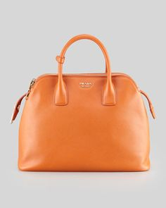 Soft Saffiano Triple-Zip Satchel Bag, Orange by Prada at Bergdorf Goodman.