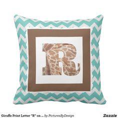 "Giraffe Print Letter ""R"" on Mint/White Chevron Throw Pillow"