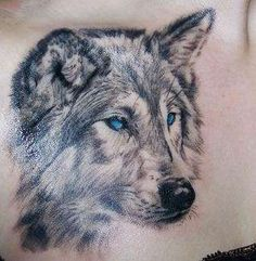 Wolf tattoo..It'd look better if it had some kind of background to it or shadowing but I love the idea of it.<3