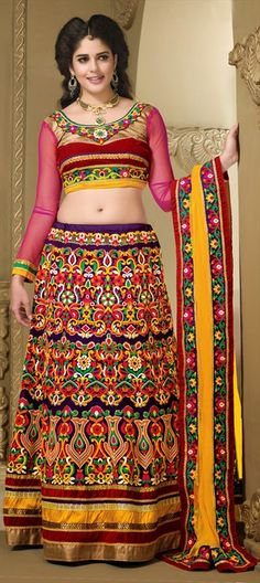 148517: #IzabelleLeiti #Bollywood #GetThisLook #embroidery #floral #multicolor #lehenga #wedding #bridal #blouse #ethnic #Indian #IndianWedding