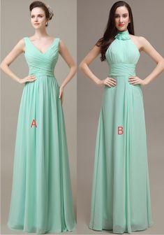 Mint Chiffon A-line Prom Dresses,Simple Cheap Bridesmiad Dresss,Elegant Bridesmaid Gowns,Pretty Bridesmaid Dresses For Wedding
