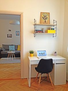My home - skandinavian living room - home office - Eames chair - string shelf