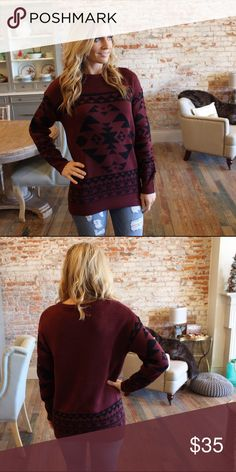 "Burgundy and black tribal jacquard sweater Modeling size small, 100% acrylic. Bust laying flat: S 20"" M 21"" L 22"" length S 27"" M 28"" L 29"". Add to bundle to save when purchasing two or more items from my closet. AB8001111 Sweaters Crew & Scoop Necks"