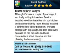 Although it's been a couple of years ago, I am finally writing this review.  Derrick...