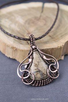 Jasper pendant wire wrap pendant wire wrapped by LenaSinelnikArt