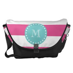 Shop Hot Pink White Stripes Pattern, Teal Monogram Messenger Bag created by GraphicsByMimi. Pink Zebra, Teal, Large Messenger Bags, Pack Your Bags, Pink And White Stripes, Beautiful Bags, Bag Accessories, Purses And Bags, Diaper Bag