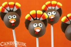 Turkey Cake Pops - love these cute little pops! @Miss CandiQuik