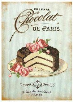 Chocolate Cake Shabby Chic 8x10 Handmade Fabric Block