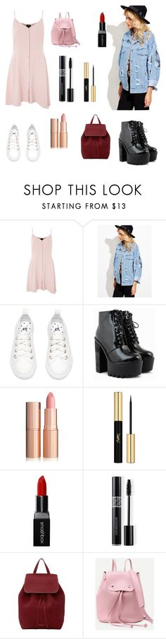 """Untitled #12"" by burgundyalex ❤ liked on Polyvore featuring Topshop, Yves Saint Laurent, Smashbox, Christian Dior and Mansur Gavriel"