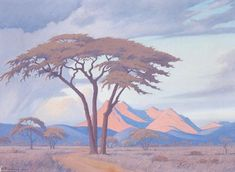 Jacob Hendrik Pierneef (South African painter) 1886 - 1957 Tabazimbi, Rustenburg, 1943 oil on canvas 46 x 61 cm. x 24 in.) signed and dated 'J. inscribed 'BY TABAZIMBI. Landscape Drawings, Landscape Art, Landscape Paintings, Watercolor Paintings, Landscapes, African Drawings, African Paintings, South African Art, Asian Art