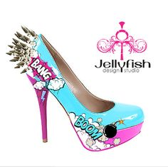 Bank spiked comic heels http://www.etsy.com/listing/77010982/bang-spiked-comic-heels