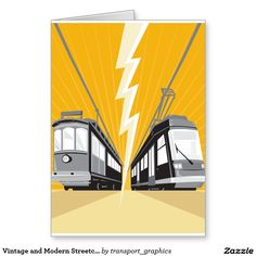 Buy Vintage and Modern Streetcar Tram Train by patrimonio on GraphicRiver. Illustration of a vintage and modern streetcar train tram viewed from a low angle with lightning bolt in the center d.