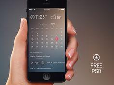 iPhone Calender: free psd   #ui