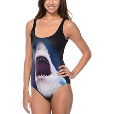 be9f9a73c1c27 Billabong Muller One Piece Shark Swimsuit at Zumiez  Another shark flying  out of a crotch