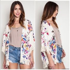 ⭐️LAST ONE!⭐️NWT Floral Kimono/Duster Small NWT Floral Kimono/Duster. Such a great casual piece! Light and airy, with a silky touch. Ivory fringe along bottom hem and sleeve openings for a whimsical look! Fabric is Cotton/Polyester blend. Available in Small (0-4). Fits true to size with a loose fit. No Trades and No PaypalSold out of mediums, larges Jackets & Coats