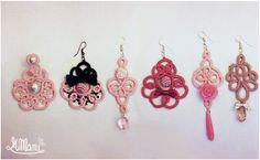 """https://flic.kr/p/CQaw16   Collezione Pinkie! ^-^   Nuova serie di orecchini, alcuni realizzati su commissione. modelli a """"ortensia, """"cuore #01"""", """"picche"""", """"grappolo"""", con applicazioni di fiocchetti, perle, perline, ciondoli e ciondolini."""