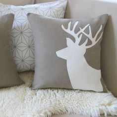 DEER PILLOWS | Deer Pair Pillow Covers Winter Wonderland Mocha by VixenGoods