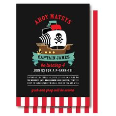 Pirate Birthday Invitation by DelightPaperie on Etsy, $20.00