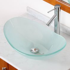 Double Layered Tempered Glass Boat U-Shaped Vessel Bathroom Sink