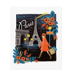 16 x Illustrated Art Print created from an original gouache painting by Anna Bond. Paris Art Print by Rifle Paper Co. Home & Gifts - Home Decor - Wall Art Austin, Texas Paris Kunst, Paris Art, Tour Eiffel, Illustration Parisienne, Art Parisien, Travel Illustration, Rifle Paper Co, Travel Design, Travel Style