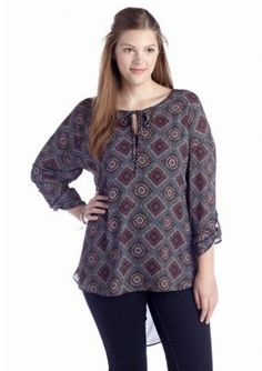 Living Doll  Plus Size Medallion Print Woven Blouse