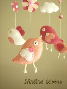 """Baby crib mobile, Bird mobile, girl mobile """"Bird - rose"""" --TONS"""