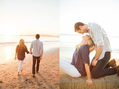 I love their casual outfits for this beautiful golden hour engagement shoot in Santa Barbara at Butterfly Beach