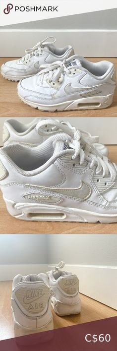 Nike White Air Max 90 Kids Unisex kids fit but can fit Women's shoe size US 5.5/6 Classic Air Max cushioning - padding around ankles and soft foam cushioning. Durable rubber sole Some staining and scuff marks as picture, otherwise easy to clean. Preloved, good condition. Nike Shoes Sneakers Toddler Nike Shoes, Toddler Nikes, Air Max 90 Kids, Kyrie Irving Basketball Shoes, White Huaraches, Huarache Run, Nike Air Max Plus, Nike Air Force Ones, Nike Roshe Run