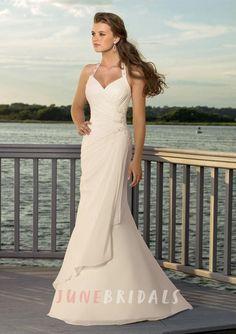 Sheath Column V-neck Halter Chiffon Wedding Dress