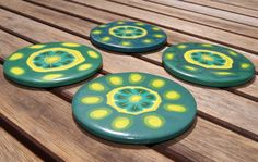Retro Green and Yellow Summer Floral Art by ClareBashamDesigns, £34.95
