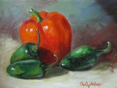 Red Bell pepper with green, jalapeno peppers strewn around on a table. Hanging hardware is installed on the back of the painting. Acrylic Painting Lessons, Painting & Drawing, Original Artwork, Original Paintings, Kitchen Artwork, Paintings For Sale, Oil Paintings, Still Life Art, Food Art