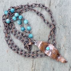 Copper Feather Turquoise and Shell Handmade Inspiration Necklace