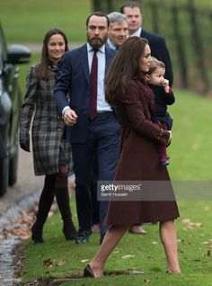 Catherine, Duchess of Cambridge , Princess Charlotte of Cambridge, Pippa Middleton and James Middleton attend Church on Christmas Day on December 25, 2016 in Bucklebury, Berkshire.