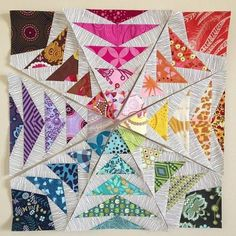 Paper-piecing Flying Geese. Love the colors!