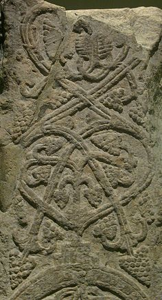 Anglo-Saxon Cross Shaft, East Stour  stone cross shaft early 10th cent East Stour,Dorset The desing is a Tree of Life based on a vine British Museum
